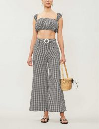 SOLID & STRIPED Gingham high-rise wide-leg seersucker trousers in black and white