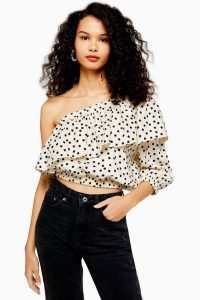 TOPSHOP Spot Ruffle One Shoulder Blouse Ivory. ASYMMETRIC NECKLINE TOP