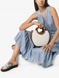 Staud Brown Frida Canvas Leather Tote Bag ~ round top handle bags