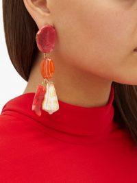 CAROLINA HERRERA Stone & shell charm-drop earrings ~ bright statement jewellery