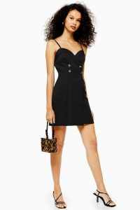 Topshop Strap Tuxedo Mini Dress in Black | LBD