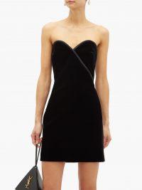 SAINT LAURENT Strapless velvet mini dress in black ~ lbd