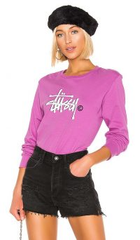Stussy Basic Logo Tee in Berry / long sleeve graphic t-shirt