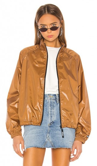 Stussy Langley Shiny Zip Jacket in Tan – luxe brown bomber