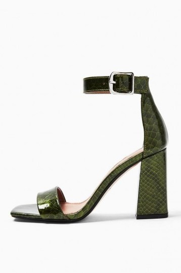 TOPSHOP SUKI Green Two Part Sandals - flipped