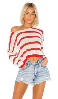 superdown Adriana Knit Sweater White and Red | slouchy drop shoulder knits
