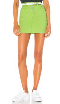 superdown Alix Distressed Denim Skirt Neon Green – raw hem mini