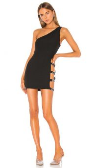 superdown Celina Buckle Side Dress in Black | one shoulder LBD