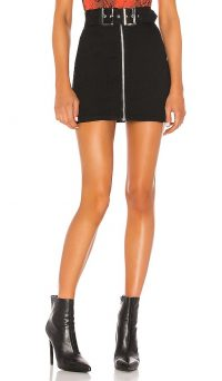 superdown Genevieve Mini Skirt Black Denim | front zip closure