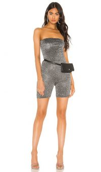 superdown Susan Strapless Romper Black and Silver – evening glamour