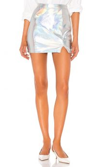 superdown Tamia Mini Skirt Opal – Iridescent faux leather skirts