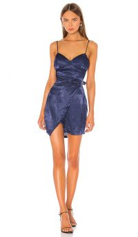 superdown Zora Belted Mini Dress in Navy | blue skinny strap going out dresses