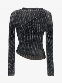 Supriya Lele Mini Cross Print Twisted Mesh Top in Black ~ contemporary tops