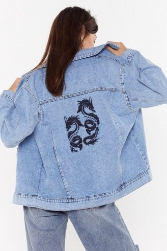 NASTY GAL Taming the Dragon Denim Jacket in Mid Blue – casual oversized jackets - flipped