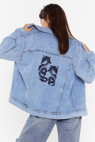 NASTY GAL Taming the Dragon Denim Jacket in Mid Blue – casual oversized jackets