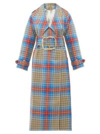 CHARLES JEFFREY LOVERBOY Blue and red tartan wool-twill trench coat ~ style statement coats
