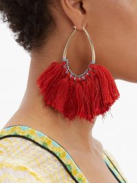 MISSONI Tasselled lurex hoop earrings in red ~ boho statement jewellery