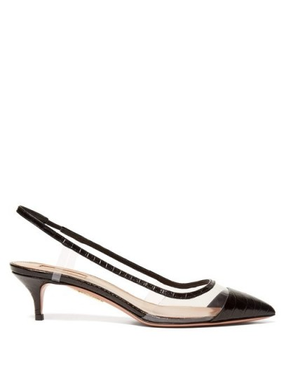 AQUAZZURA Temptation 45 black crocodile-effect leather pumps ~ clear PVC paneled slingbacks