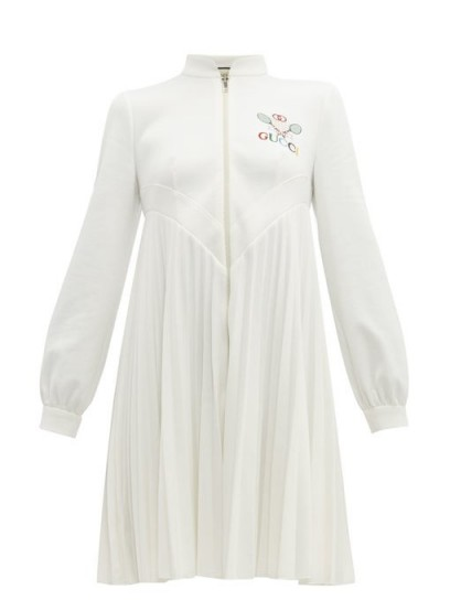 GUCCI Tennis logo-embroidered pleated dress in ivory ~ sporty style clothing