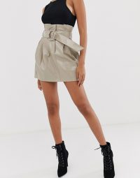 4th & Reckless paperbag PU buckle skirt in mocha / shiny skirts