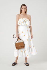 CAMILLA AND MARC CARLOTTA EMBROIDERED LINEN SKIRT in WHITE ~ frill hem summer skirts