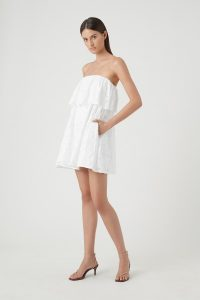 CAMILLA AND MARC CELESTE JACQUARD MINI DRESS in WHITE ~ strapless summer evening dresses