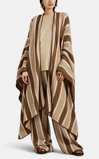 THE ROW Merlyn Cashmere-Silk Cape in Brown / Beige / Cream stripes ~ longline capes
