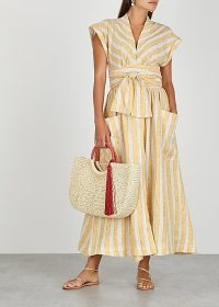 THREE GRACES Clarissa striped linen-blend wrap dress in stone and amber ~ perfect summer vacation look