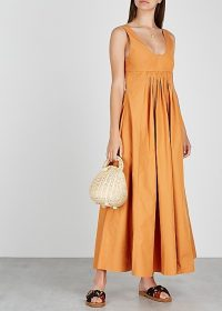 THREE GRACES Laurette rust cotton dress ~ voluminous maxi sundress
