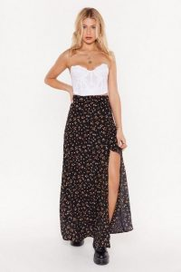 Nasty Gal Throw a Hissy Slit Floral Maxi Skirt in Black