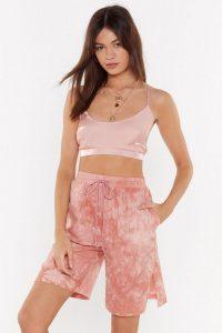 NASTY GAL Tie Dye for Jogger Longline Shorts in Pink – side slit hems