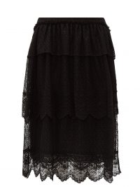 SIMONE ROCHA Tiered-lace midi skirt in black