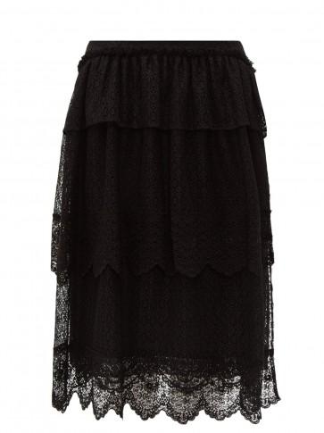 SIMONE ROCHA Tiered-lace midi skirt in black