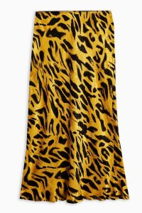 Topshop Tiger Jacquard Satin Bias Midi Skirt in Ochre