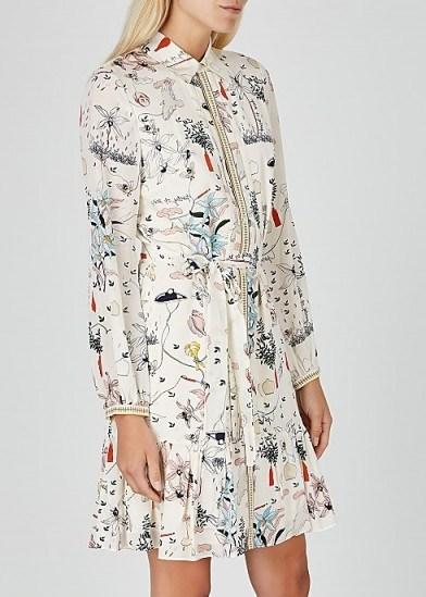 TORY BURCH Cora printed silk shirt dress ~ ruffle hem summer dresses - flipped