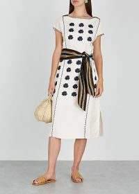 TORY BURCH White embroidered linen-blend midi dress ~ effortless summer style