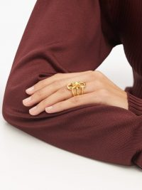 CHARLOTTE CHESNAIS Trypitch detachable linked 18kt gold-plated rings