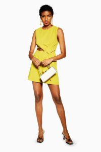 TOPSHOP Twist Drape Playsuit in Chartreuse – summer party playsuits