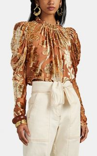 ULLA JOHNSON Camilla Floral Devoré Blouse / pink and gold-velvet gathered top