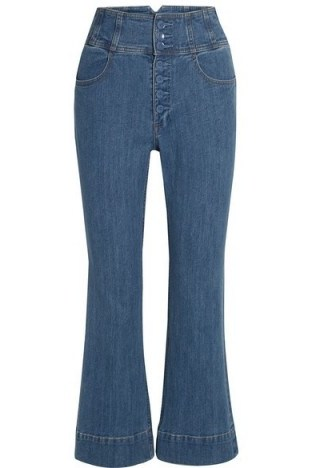 Katie Holmes blue high waisted front button jeans, ULLA JOHNSON Ellis cropped high-rise flared jeans, out in New York, 17 June 2019 | celebrity street style denim | what celebrities wear - flipped