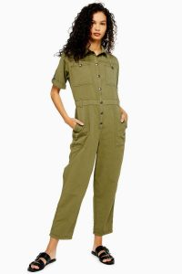 TOPSHOP Utility Boiler Suit With Linen in Khaki – green crop leg boilersuit