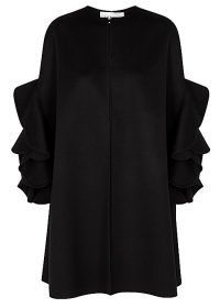 VALENTINO Black ruffled wool-blend cape ~ ruffle trim capes