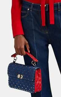 VALENTINO GARAVANI Rockstud Spike Medium Denim Shoulder Bag ~ blue and red studded top handle bags
