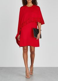 VALENTINO Red cape-effect dress