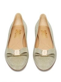SALVATORE FERRAGAMO Varina gold glittered-leather ballet flats