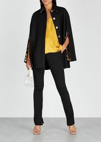 VERSACE Black cape-effect wool coat ~ chic designer capes