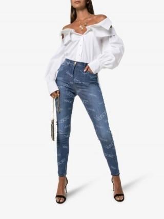 Versace Washed Logo Effect Skinny Jeans – designer skinnies