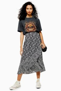 Topshop VIENNA Black And White Floral Print Wrap Midi Skirt ~ monochrome ruffle hem skirts