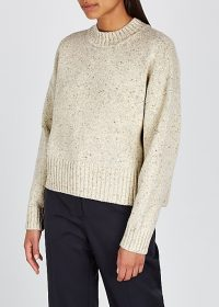 VINCE Donegal cream wool-blend jumper | boxy crew neck sweater