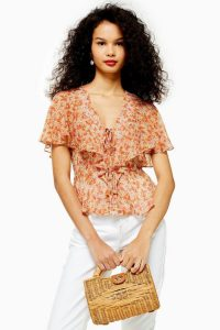 Topshop Vintage Floral Tie Blouse in Orange | feminine look blouses